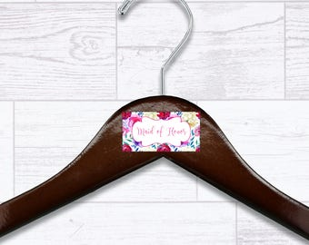 Floral Maid of Honor Wooden Hanger - Wedding Hangers - Bridal Hanger - Maid of Honor Gift - Wedding Gift - Wedding Supplies - HNGR0039