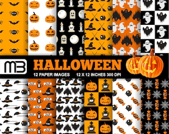 Halloween digital paper pack - printable papers - Instant download - 12x12 inches papers - for home printing - DIY