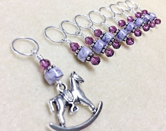 Snag Free Rocking Horse Stitch Marker Set- Gifts for Knitters- Purple Progress Marker