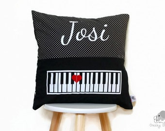 Personalised pillow piano love, personalized cushion piano, black and white piano pillow, name cushion music lover, gift for piano teacher