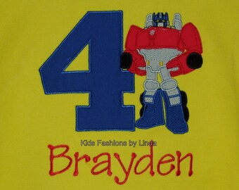 Birthday Yellow Short Sleeve Shirt with Number/Red-Blue Rescue Robot