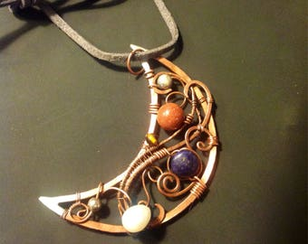 Large copper wire wrapped jewelled cresent moon pendant