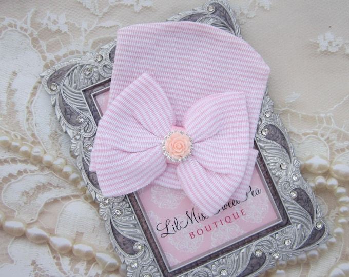 Newborn Hospital Hat, pink and white stripes with a pink and silver rose rhinestone attachment, baby hat, from Lil Miss Sweet Pea Boutique
