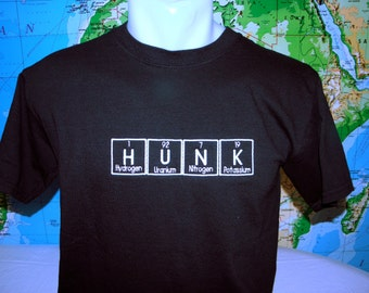 HUNK T-shirt READY to SHIP Embroidered in Periodic Table Letters Short Sleeve T