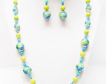Round Aqua Glass Flower Beads Necklace/Earrings Set