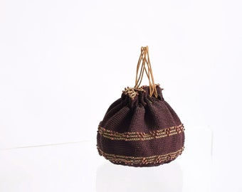 1930s Crochet Drawstring Pouch Purse with Tortoise Celluloid Base 30s Vintage