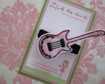 Girl hair clips - guitar hair clips - girl barrettes