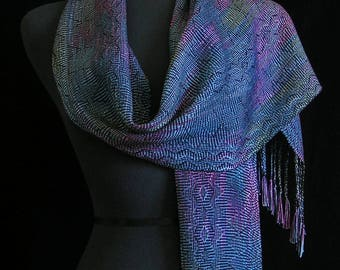 Handwoven Scarf Soft Hand Dyed Tencel Scarf Long Handmade Shawl Colorful Scarf Space Dyed Blue Purple Wrap Unique Gift  - Auorora Borealis