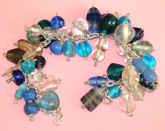 LAST ONE! Blue and Silver Wire Wrapped Glass Blue Infusion Beaded Charm Bracelet