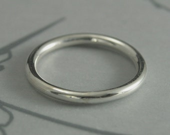 Thick Silver Round Band--Thick Roll Me Round--2mm Round Band--Sterling Silver Wedding Ring--Chunky Round Silver Ring