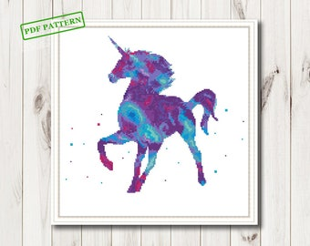 Cross Stitch Unicorn pdf pattern  Watercolor Animals Counted Cross Stitch Modern  cross stitch  PDF Pattern Download  room wall decor