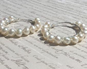Freshwater Pearl  Sterling Silver Hoop Earrings