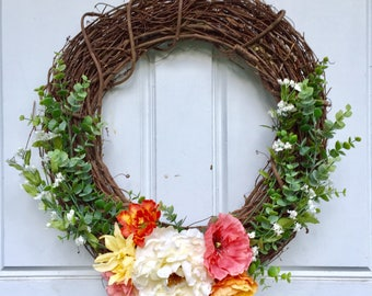 Warm Colors + Greenery Wreath | Spring Wreath | Summer Wreath | Fall Wreath |  Greenery Wreath | Grapevine Wreath | Front Door Wreath