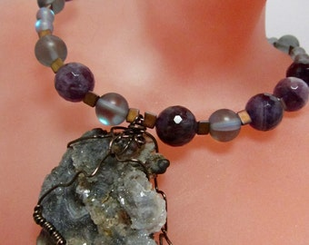 Druzy Geode Natural Stone Choker, Asymmetrical Necklace, Amethyst, Moonstone, Adjustable Necklace by SusanHeleneDesigns