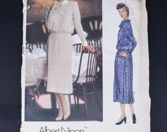 80's Vogue Sewing Pattern Uncut 1479, 1980's  Designer Dress Albert Nipon, Misses Size XS