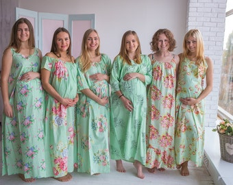 Stork Dreams Mint - Maternity Nightgown, Maternity Nightie, Maternity Bed Gown, Pregnancy Nightdress, Pregnancy Pjs, Baby Shower Gift