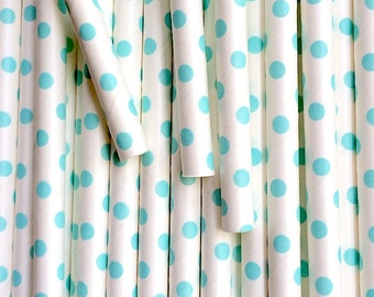 Pale Blue Swiss Dot Paper Drinking Straws - Party Decor Supplies Tableware