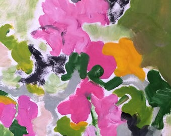 Sunday Geraniums. Original, colorful, expressionistic, one of a kind, oil painting
