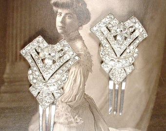 1920s Rhinestone Bridal Hair Pin Something Old Antique Art Deco Glam Vintage Wedding Hair Clip, Silver Gatsby Hair Clip Jewelry Downton ONE
