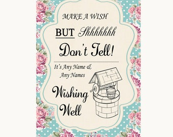 Vintage Shabby Chic Rose Wishing Well Message Personalised Wedding Sign