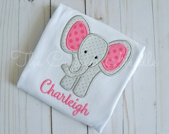 Elephant Outfit, Elephant Applique, Elephant Baby Outfit, Grey Pink Elephant, Elephant Nursery, Elephant Baby Girl, Elephant Baby Shower