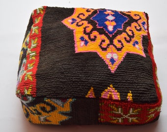 Square multicolors vintage poufs Azilal Moroccan  pouf, ottoman square berber footstool, Mariage gift, handmade floor pillow