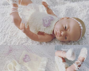 Newborn size knit ballerina romper,ballerina shoes and tie back set,photo prop,gift idea,coming home,ready to ship