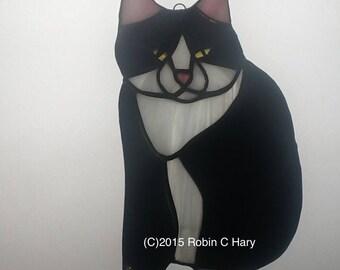 Tuxedo Cat Stained Glass Suncatcher