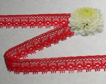 Red Lace Trim 10 or 20 Yard Lots Vintage Picot 1/2 inch wide Lot N26A Added Items Ship No Charge