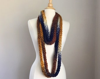 Chunky knit necklace, knit statement necklace, blue and gold necklace, knit cowl necklace, hand knit cowl scarf, knit rope necklace