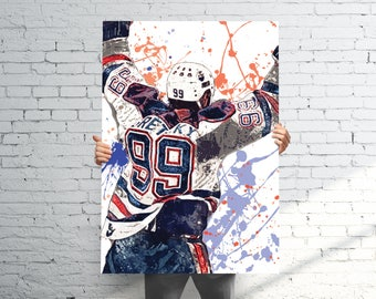Wayne Gretzky Edmonton Oilers - Sports Art Print Poster - Watercolor Abstract Paint Splash - Kids Decor - Gifts for Men - Man Cave