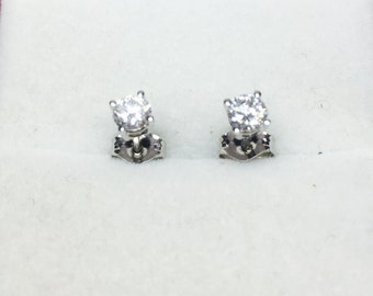 14 K or blanc 0,33 CT G SI1 diamant boucles d'oreilles 4 broches ensemble
