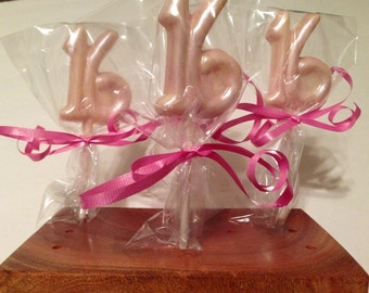 12 Chocolate Happy 16th Birthday Lollipops Birthday Party Favors Sweet 16