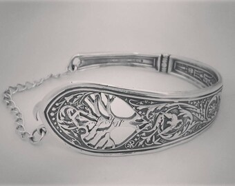 Sterling Silver Tree of Life Spoon Cuff Bracelet