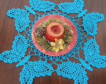 Turqoise Doily, Blue Crochet Doily, Blue Doily, Butterflies Doily, Crochet Doily, Blue Table mat, Table Decoration, Home Decor, Square Doily