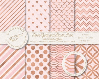Rose Gold and Blush Pink Digital Paper with special texture effects For Scrapbooking Invitations Cards crafts Instant Download jpeg diy foil