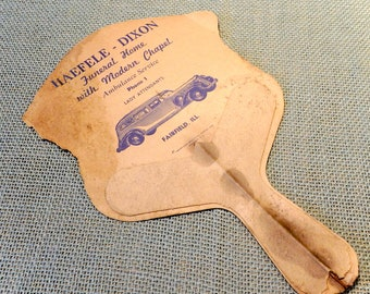 Haefele - Dixon Funeral Home Fairfield, Illinois Advertising Paper Fan - Vintage Promotional Item