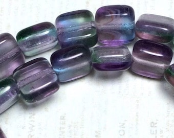 Czech glass purple 6mm square flat bead, 6mm Purple blue square bead, Czech flat square bead, 6mm purple beads 25 pieces