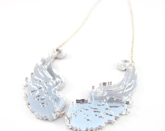 Wing necklace in mirror silver and mirror gold acrylic
