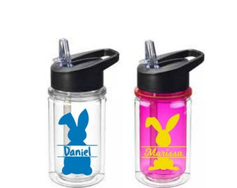 Easter Bunny Tumbler, Kids Easter Gift, Kids Water Bottle, Easter Basket Stuffers, Bunny Water Bottle, Easter Gift Idea, Easter Monogram