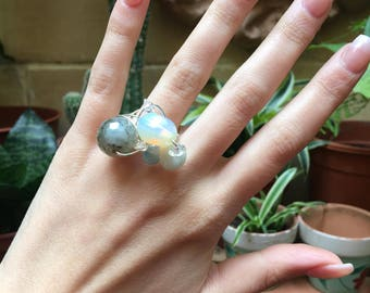 The Delvic Kingdom ring with Agate, Moonstone, Aventurine and Aquamarine