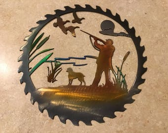 Plasma Cut Kandy painted Duck hunting Scene Saw Blade Metal Mancave Garage Wall Art Home Decor