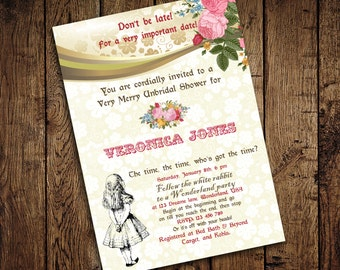 Alice in Wonderland Mad Hatter Bridal Shower Tea Party Invitation - for Birthday, Baby Shower, Bridal shower Tea Party - Printable DIY