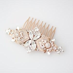 Wedding Hair Accessories Rose Gold Hair Comb Crystal Bridal Comb Rose Gold Headpiece Wedding Headpiece Rhinestone Comb EVIE