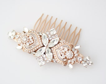 Wedding Hair Accessories Rose Gold Hair Comb Crystal Bridal Comb Rose Gold Headpiece Wedding Headpiece Rhinestone Comb EVIE