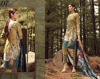 Saadia Asad Original Ethnic Treasury New Winter Collection 3 Piece Embroidered Khaddar Suit - Full Embroidered - MADE to order