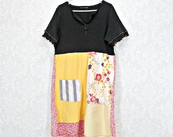 Medium Large, Artsy Dress, Upcycled Clothing, Black Dress, Patchwork Dress, Boho Clothing, Free People inspired, Repurpose Couture