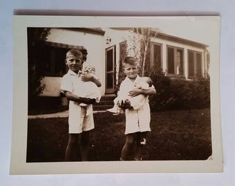 1940's Vintage Sepia Photograph Brothers Holding Baby Newborn Sisters Wearing Same Clothes Brothers and Sisters