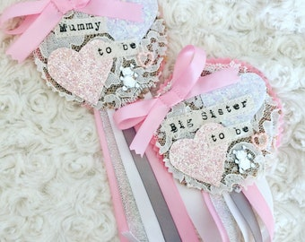Babyshower rosette - mummy to be - pink and grey - nanny to be - baby shower favour - personalised shabby chic