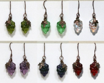 Fruit Earrings Antiqued Copper, Grapes, purple, green, red, white